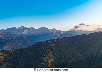Amazing aerial view of the Alps at sunny autumn day