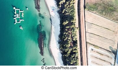 Amazing aerial view of Tuscany coastline, Italy from the drone.