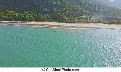 Amazing Aerial View Quiet Azure Ocean and Beautiful Beach -...