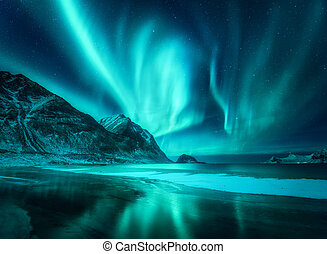 Amazing aurora borealis. Northern lights in Lofoten islands