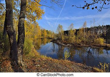 Amazing autumn landscape near the water
