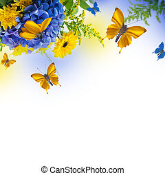 Amazing background with hydrangeas and daisies. Yellow and...