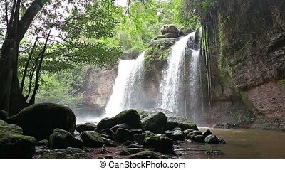 Amazing beautiful waterfalls in deep forest at Haew Suwat...