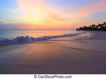 Amazing beauty colorful sunset on Caribbean. Aruba island.
