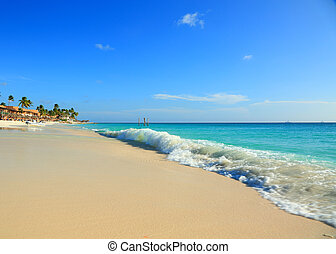 Amazing beauty turquoise Caribbean sea white sand beach. Aruba island.