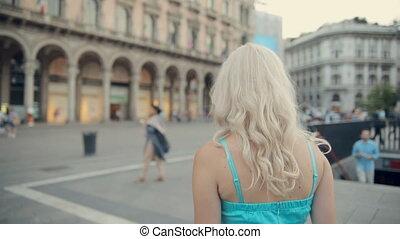 Amazing blonde walking down the street of Milan - Amazing...