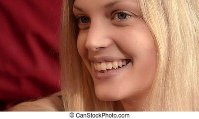 amazing blonde woman - Portrait of a beautiful blue-eyed...