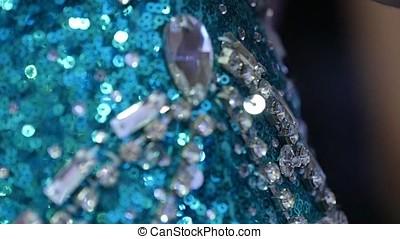 Amazing blue precious stones. Brilliant earring. Selective...