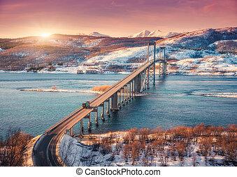 Amazing bridge during sunset in Lofoten islands, Norway