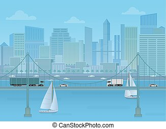 Amazing Bridge with trucks and cars on the modern city cityshape background.