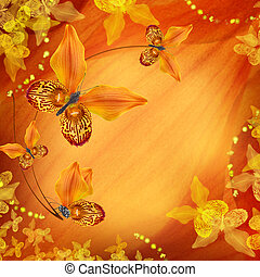 Amazing butterflies from the petals of orchids, floral...