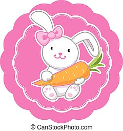 Amazing cartoon bunny girl with a pink bow and carrot.