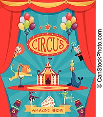 Amazing Circus Show Poster - Amazing circus show poster with...