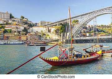 Amazing city of Porto with Eiffel's bridge, Portugal - Dom...