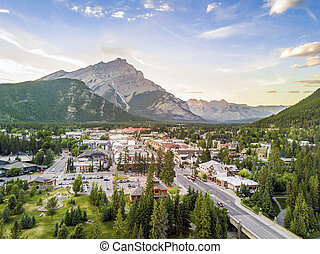 Amazing cityscape of Banff in Rocky Mountains, Alberta, Canada