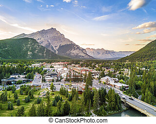 Amazing cityscape of Banff in Rocky Mountains, Alberta, ...