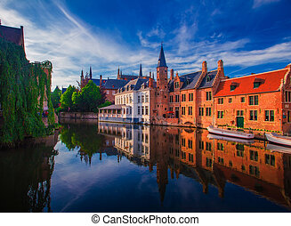 Amazing cityscape of Brugge on summer day