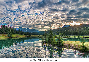 Amazing Clouds and Trees Reflected in Lake - Lake reflection...