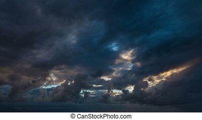 Amazing cloudy sunrise time lapse
