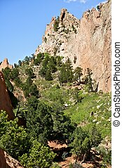 Amazing Colorado - Colorado Springs Garden of the Gods Public Park Contains Numerous Trails for Hiking, Walking, Mountain Biking and Horseback Riding. Vertical Photo.