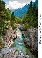 Amazing colorful Soca river gorge in Slovenian Alps