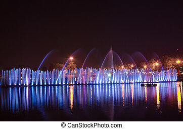 amazing dancing fountain in night