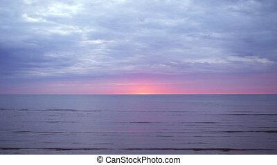 Amazing dark scenic vivid crimson rare red sunset with...