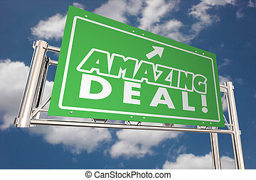 Amazing Deal Big Sale Special Offer Discount Freeway Highway Road Sign Store 3d Illustration