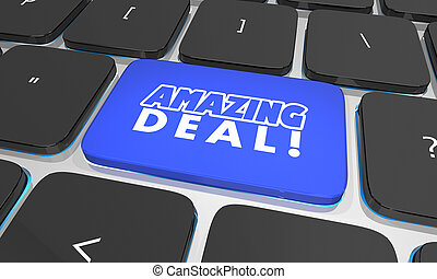 Amazing Deal Sale Special Offer Save Money Keyboard Button Search 3d Illustration