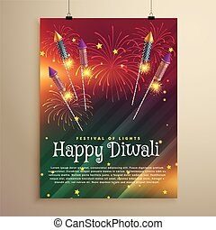 amazing diwali festival flyer template with fireworks and flying rockets