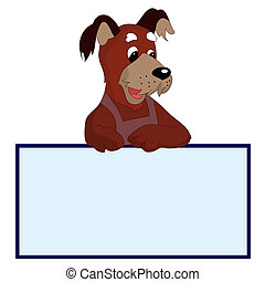 Amazing dog with blank template for text, cartoon on white background,