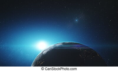 Amazing earth rotate starry orbit outer space - Amazing...