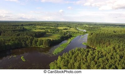Amazing european belarusian wild nature. Beautiful view of the river, field, village, lake in pine forest. Stracha river, Belarus. Drone aerial shot