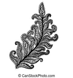 Amazing Feathers with Dots, Spiral, Triangle on White....