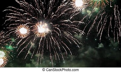 Amazing firework pyrotechnic show - Close up of fantastic...