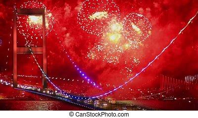 Amazing fireworks all around  city