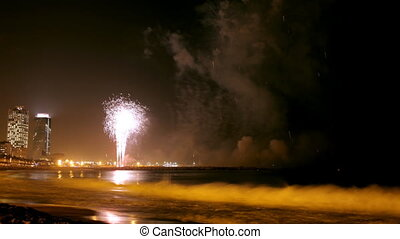 amazing fireworks display during the la merce festival and...