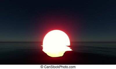 Amazing glowing sun sea Light banner. Design idea. Light effect. 4k