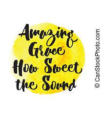 Amazing Grace How Sweet the Sound Christian Gospel Hymn Lyrics Typography Design