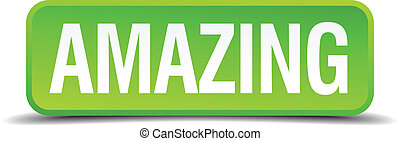 Amazing green 3d realistic square isolated button