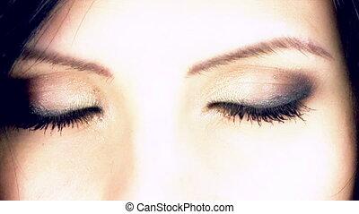Amazing green eyes of female model