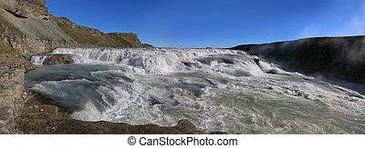 Amazing Gullfoss waterfall, Iceland - Panoramic view of...