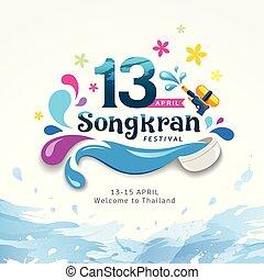 Amazing Happy Songkran festival sign of Thailand design water splash