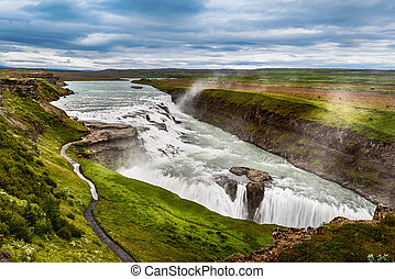 beautiful waterfall Gullfoss, famous landmark in Iceland