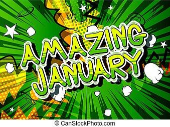 Amazing January - Comic book style word.