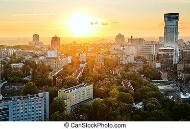 Kyiv city, Ukraine, in the morning, aerial panoramic view