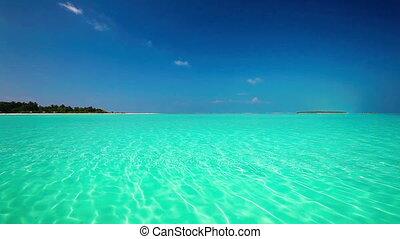 Amazing lagoon at Maldives - Romantic sandy beach with...