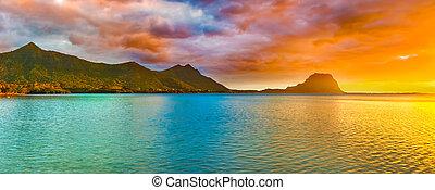 Amazing landscape. Le Morne Brabant at sunset. Mauritius. ...