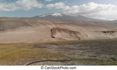 Amazing landscape of Landmannalaugar magnificent highlands and river in summer season, aerial view from drone, Iceland.