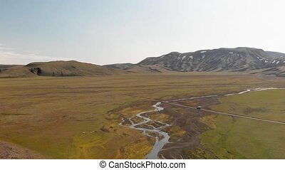 Amazing landscape of Landmannalaugar magnificent highlands in summer season, panoramic aerial view from drone, Iceland.